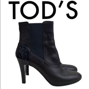 TOD'S BLACK BROWN HEELED BOOTIES SIZE 8